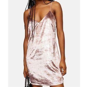 Topshop NEW Rose Glitter Velvet Mini Slip Dress